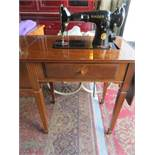 SINGLED DRAWER SIDE CABINET CONTAINING SINGER SEWING MACHINE