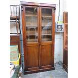 VICTORIAN MAHOGANY TWO DOOR GLAZED BOOKCASE WITH TWO CUPBOARDS BELOW