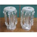 PAIR OF VICTORIAN GLASS LUSTRES WITH DROPLETS,