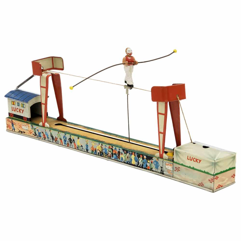 """Lot 15 - """"Lucky"""" Tightrope Walker by Arnold, 1955Nuremberg, no. 360, lithographed tin, spring-driven ("""