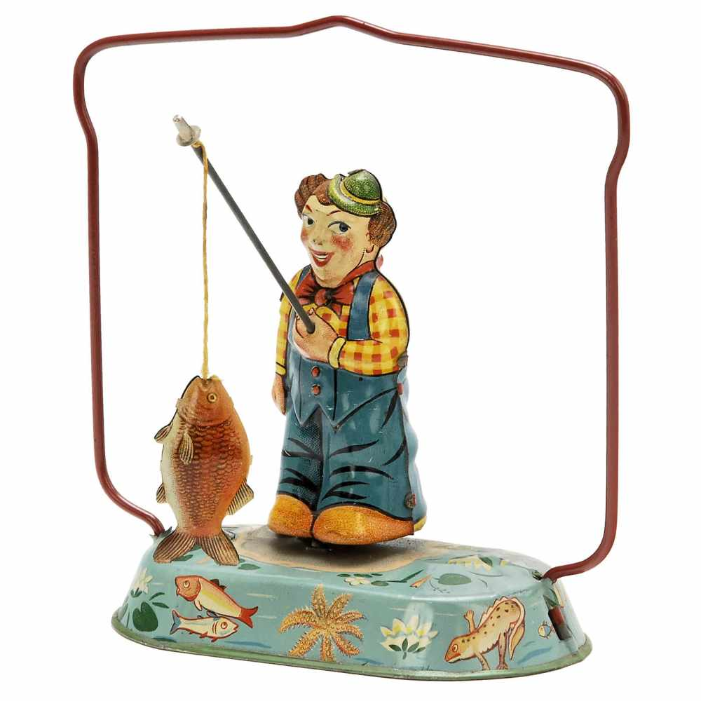 Lot 21 - Angler with Fish Toy by Blomer & Schüler, c. 1950Nuremberg, Germany, lithographed tin, spring-driven