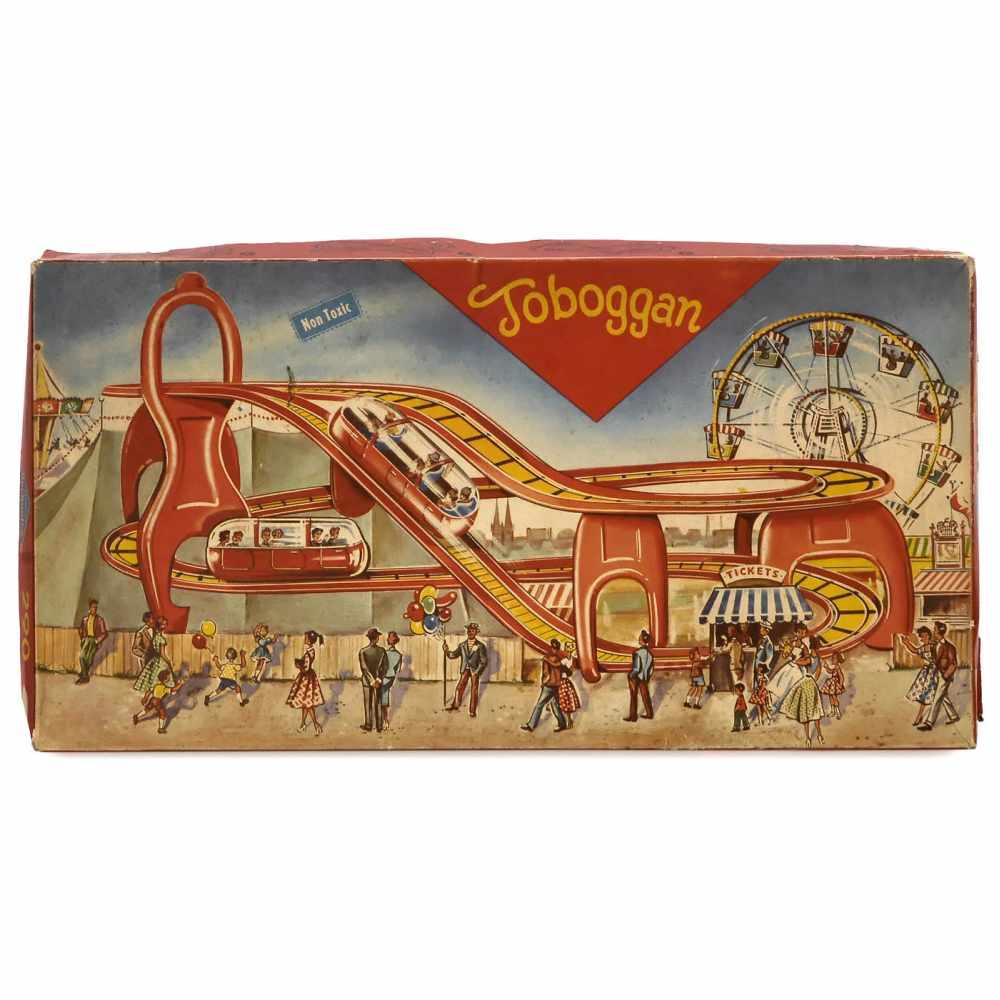 Lot 34 - 4 Boxed Technofix Clockwork Toys, 1960s1) No. 314, Busy Diesel. - 2) No. 290, Toboggan. - 3) No.