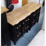 PAIR OF BEDSIDE CHESTS, black with wooden tops, 60cm H x 55cm W x 37cm.