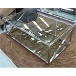 ANDREW MARTIN STYLE LOW TABLE, polished metal and glass, 45cm H.