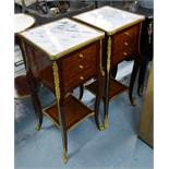 SIDE TABLES, a pair, square form with three drawers below Louis XV style with marble tops,