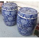 GARDEN SEATS, a pair, Chinese style blue and white, 32cm diam x 46cm H.