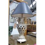 TABLE LAMP, contemporary silvered finish with shade, 90cm H.