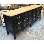 BANK OF SIX DRAWERS, black with a wooden top, 200cm L x 50cm D x 88cm H.
