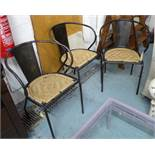 NUKUKU CHAIRS, a set of three, Industrial metal and wicker dining chairs, 80cm H.