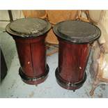 POT CUPBOARDS, a pair, Empire style with marble tops, 44cm diam x 76cm H.