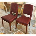 DINING CHAIRS, a set of ten, contemporary design, in quilted burgundy upholstery and studded detail,