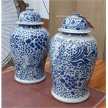 TEMPLE JARS, a pair, Chinese style blue and white, 47cm H.