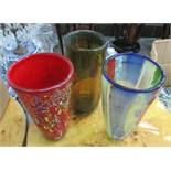 VASES, a set of three, Murano style, 31cm H.