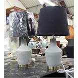 TABLE LAMPS, a pair, with shades, concrete design, 55cm H.
