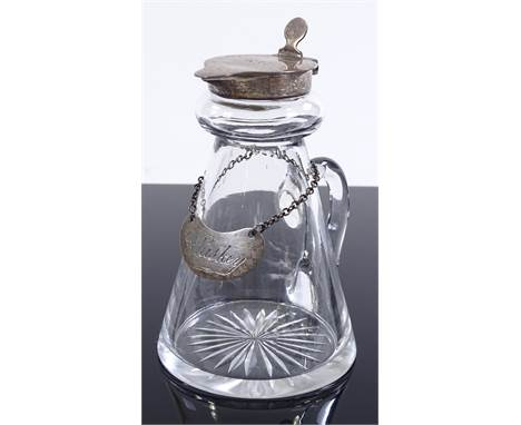 A glass whisky noggin with silver mount, by Goldsmiths & Silversmiths Co Birmingham 1913, height 9cm, silver label by Huk