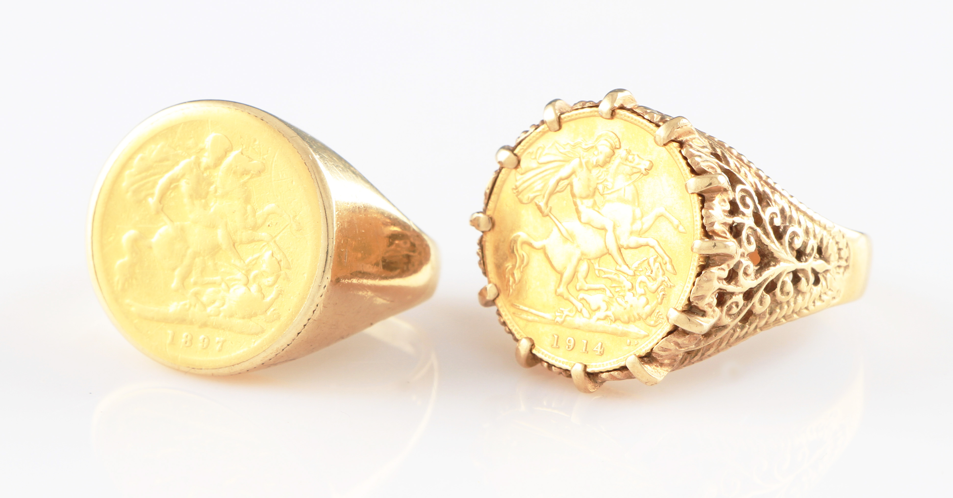 jewellery h sovereign rings coin yellow mounts ring full gold