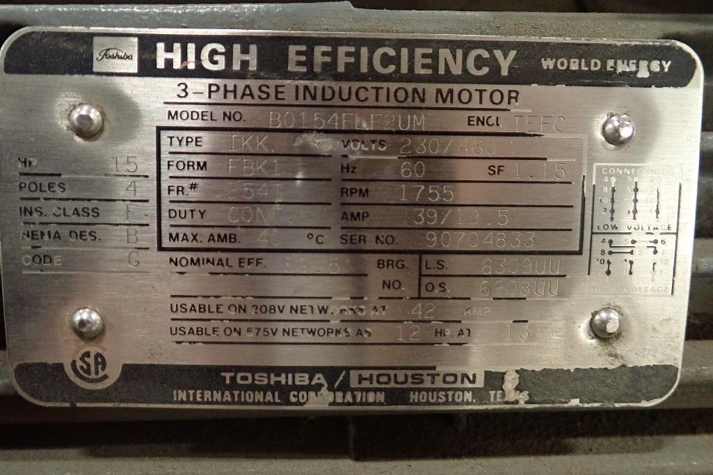 Lot 2006 - Toshiba 15 hp electric motor. (See photos for additional specs). **Rigging Fee: $25** (Located in Ea