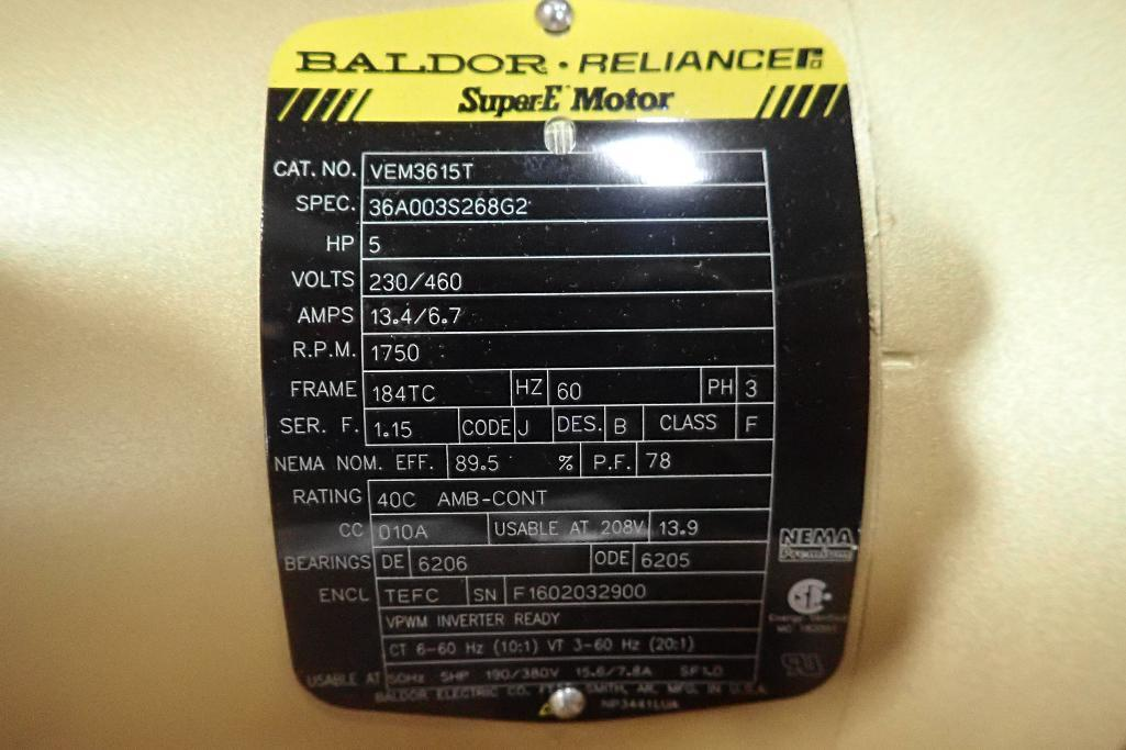 Lot 2036 - New Baldor 5 hp electric motor. (See photos for additional specs). **Rigging Fee: $25** (Located in