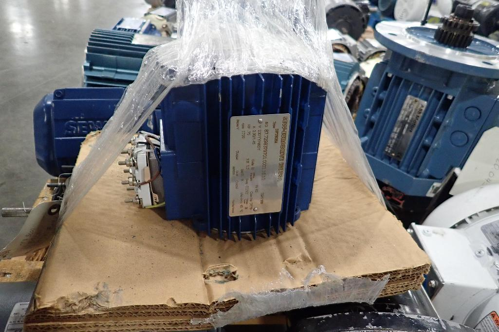 Lot 2042 - Pallet of electric motors, cores, gearboxes. (See photos for additional specs). **Rigging Fee: $35**