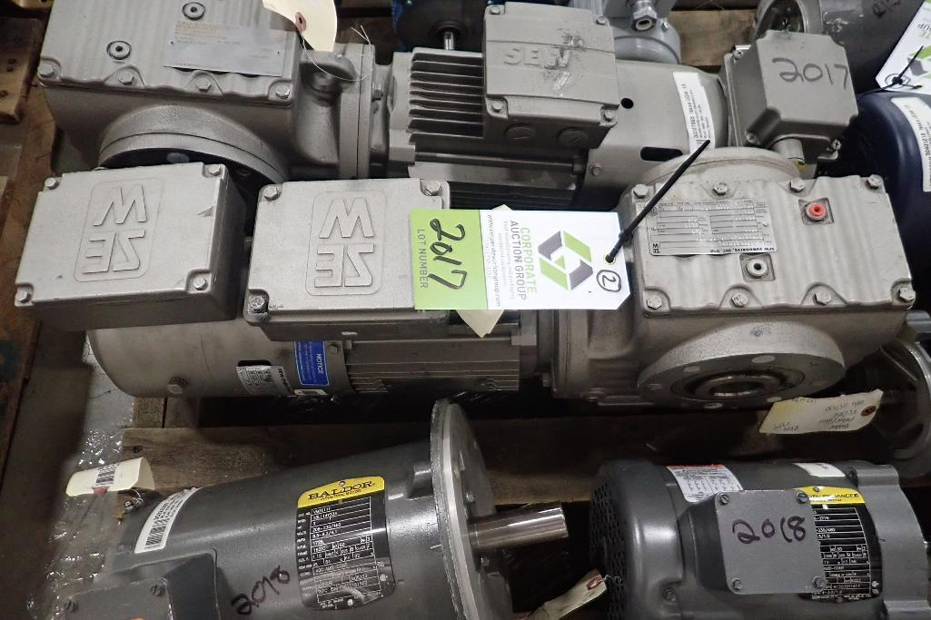 Lot 2017 - (2) Sew 1 hp electirc motors with gearboxes. (See photos for additional specs). **Rigging Fee: $25**