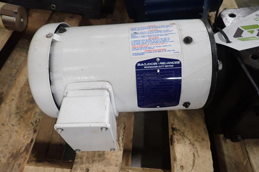 Lot 2012 - Baldor 2 hp electric motor and gearbox. (See photos for additional specs). **Rigging Fee: $25** (Loc