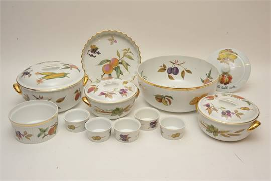 A collection of Royal Worcester fruit pattern ceramics including tureens