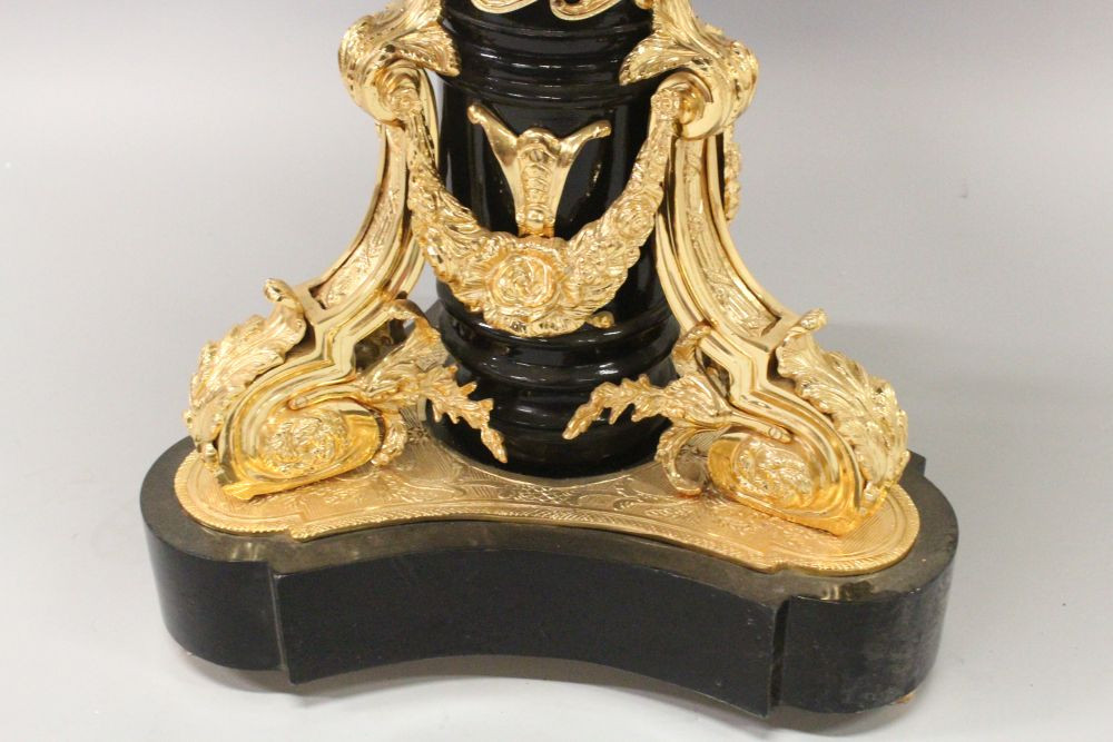 Lot 1011 - AN UNUSUAL SEVRES STYLE AND ORMOLU CENTRE TABLE, the centre inset with a circular porcelain plaque