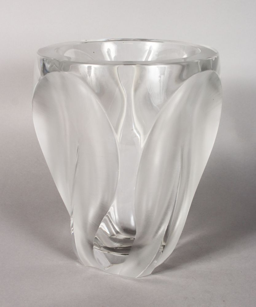 Lot 1050 - A LARGE HEAVY LALIQUE MOULDED AND FROSTED VASE. Signed Lalique, France. 10ins high.