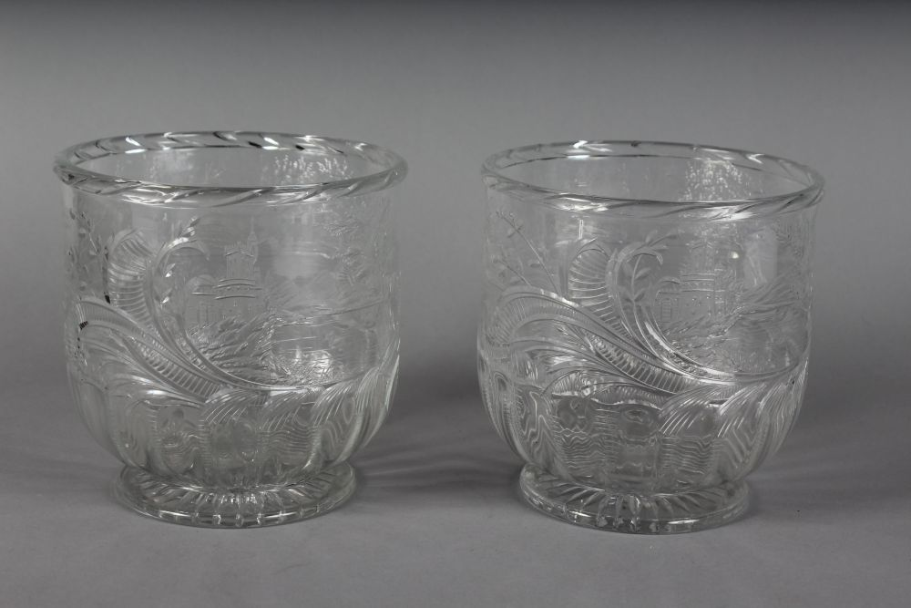 "Lot 1061 - A SUPERB PAIR OF ""FRISCHE"" INTAGLIO CUT ICE PAILS, with a landscape design and windmills, one"