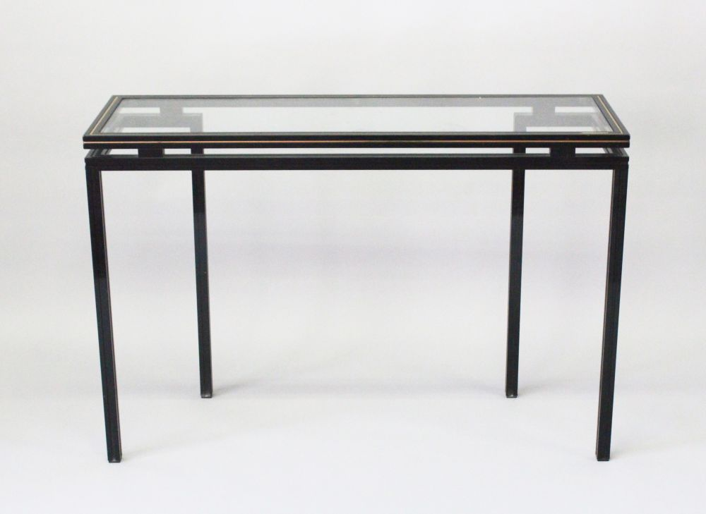 Lot 1001 - A FRENCH VINTAGE SIDE TABLE by PIERRE VANDEL, CIRCA. 1970'S, in black lacquered metal with glass