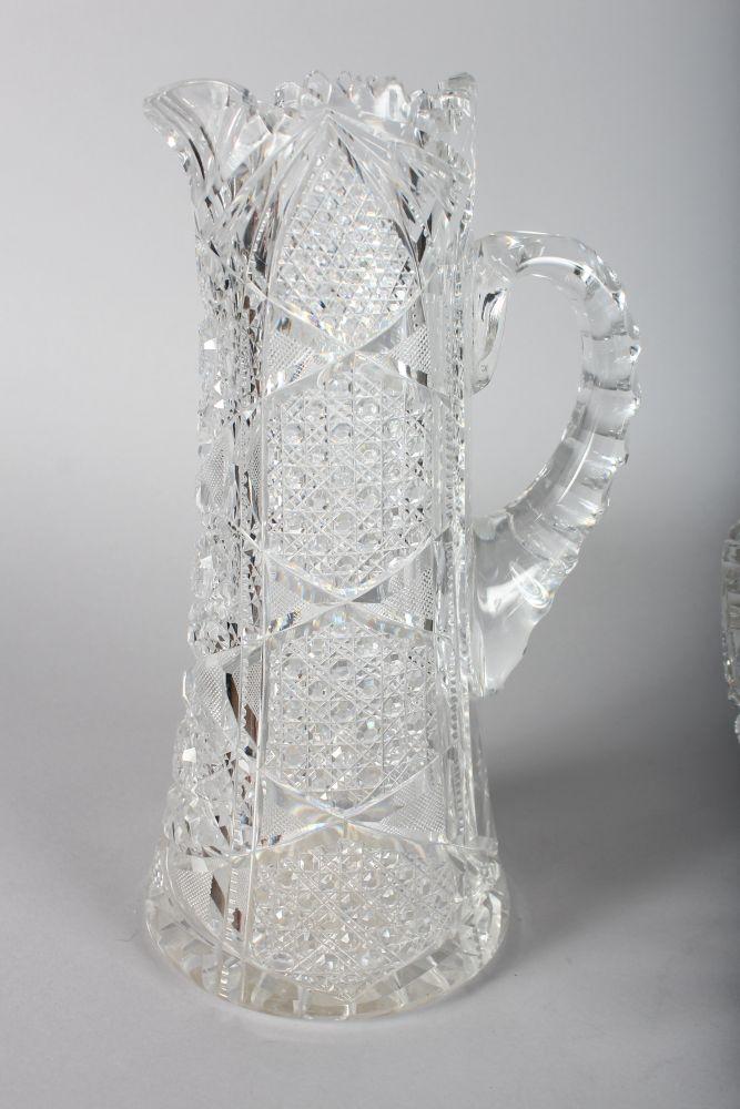 Lot 1047 - A SUPERB AMERICAN CUT GLASS JUG AND BOWL.