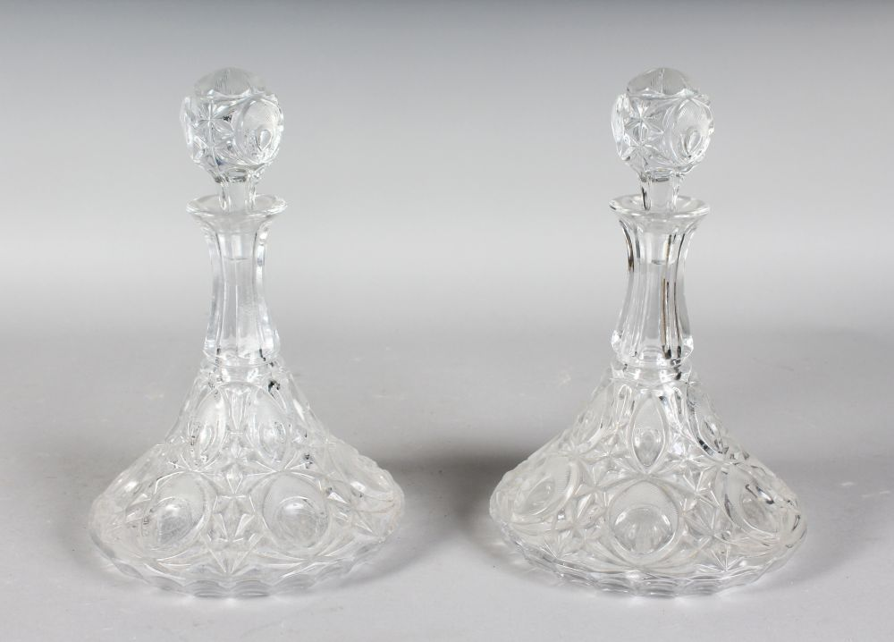 Lot 1037 - A PAIR OF SHIPS DECANTERS AND STOPPERS.