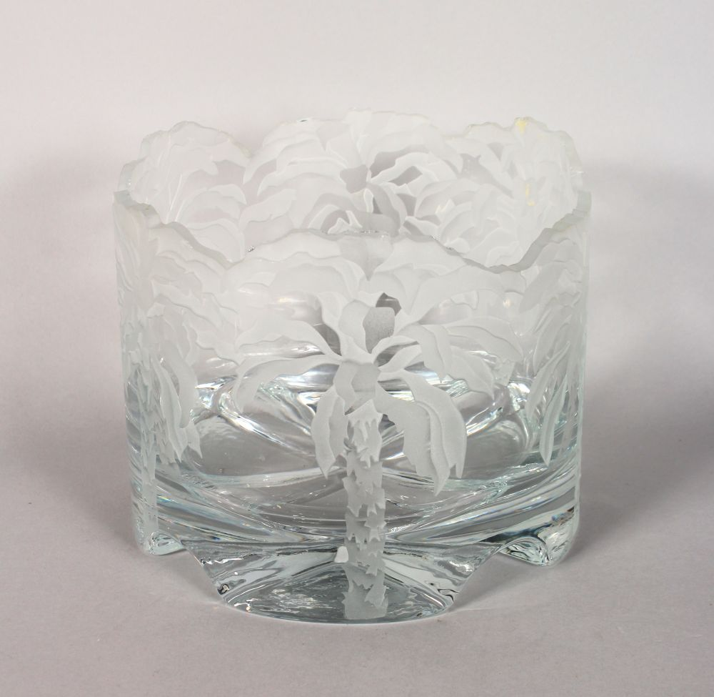 """Lot 1054 - A VERY GOOD ENGRAVED GLASS """"PALM TREES"""" BOWL. Signed on base. 6.5ins high."""