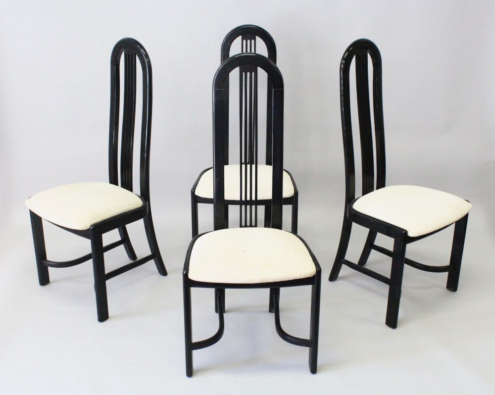 Lot 1005 - A FRENCH VINTAGE SET OF FOUR HIGH BACK EBONISED CHAIRS by PIERRE VANDEL, CIRCA. 1970'S (4). 45.