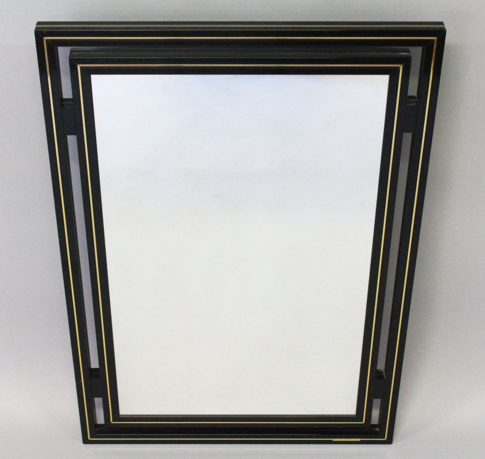 Lot 1004 - A FRENCH VINTAGE EBONISED MIRROR by PIERRE VANDEL, in black lacquer. 35.5ins x 23.5ins.