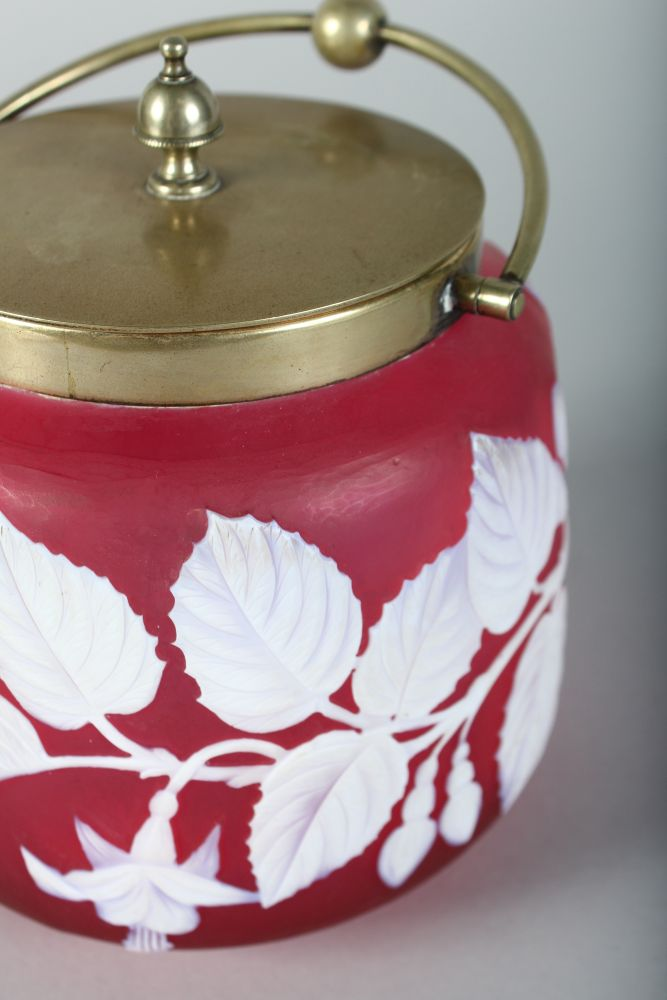 """Lot 1046 - A SUPERB """"WEBBS"""" STYLE RUBY CAMEO BISCUIT BARREL, CIRCA. 1880, with plated lid and handle."""