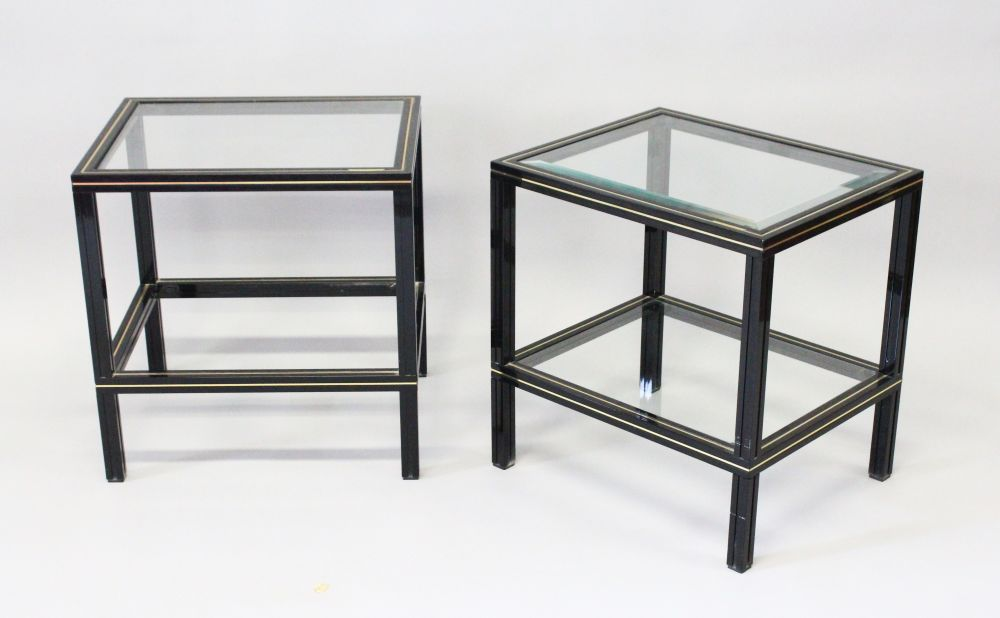 Lot 1002 - A PAIR OF FRENCH VINTAGE SIDE TABLES by PIERRE VANDEL, CIRCA. 1970'S, in black lacquered metal