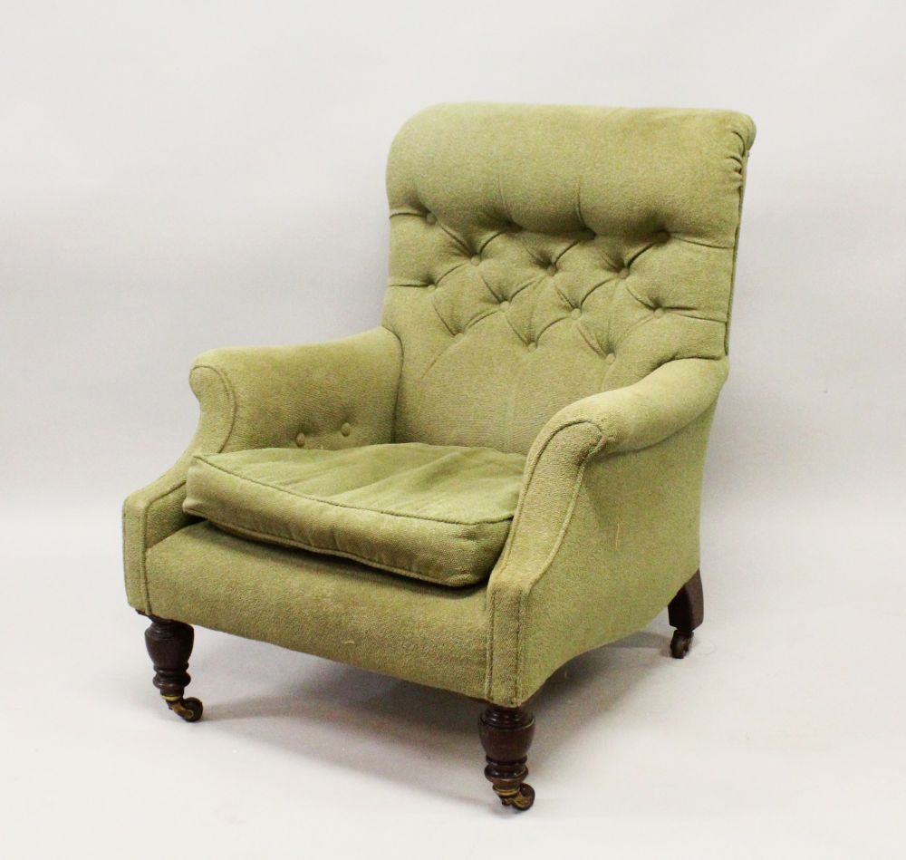 Lot 1025 - A SHOOLBRED, LONDON MAHOGANY BUTTON BACK ARMCHAIR, stamped '68530' on turned legs, stamped