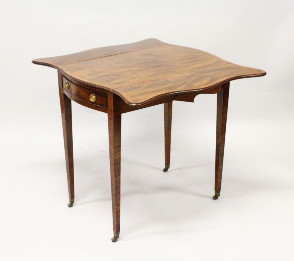 "Lot 1008 - A GOOD GEORGE III MAHOGANY ""BUTTERFLY"" PEMBROKE TABLE, the well figured top with boxwood stringing"