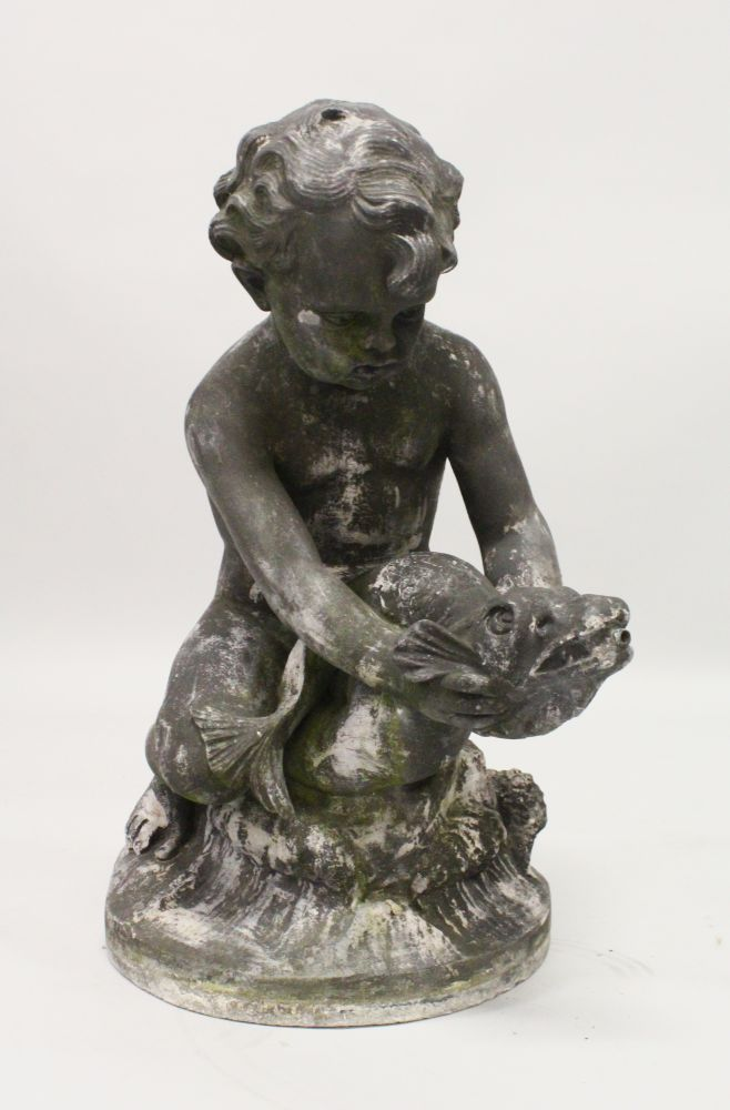 Lot 1009 - A LEAD GARDEN FOUNTAIN, PROBABLY 19TH CENTURY, modelled as a seated cherub riding on a classical