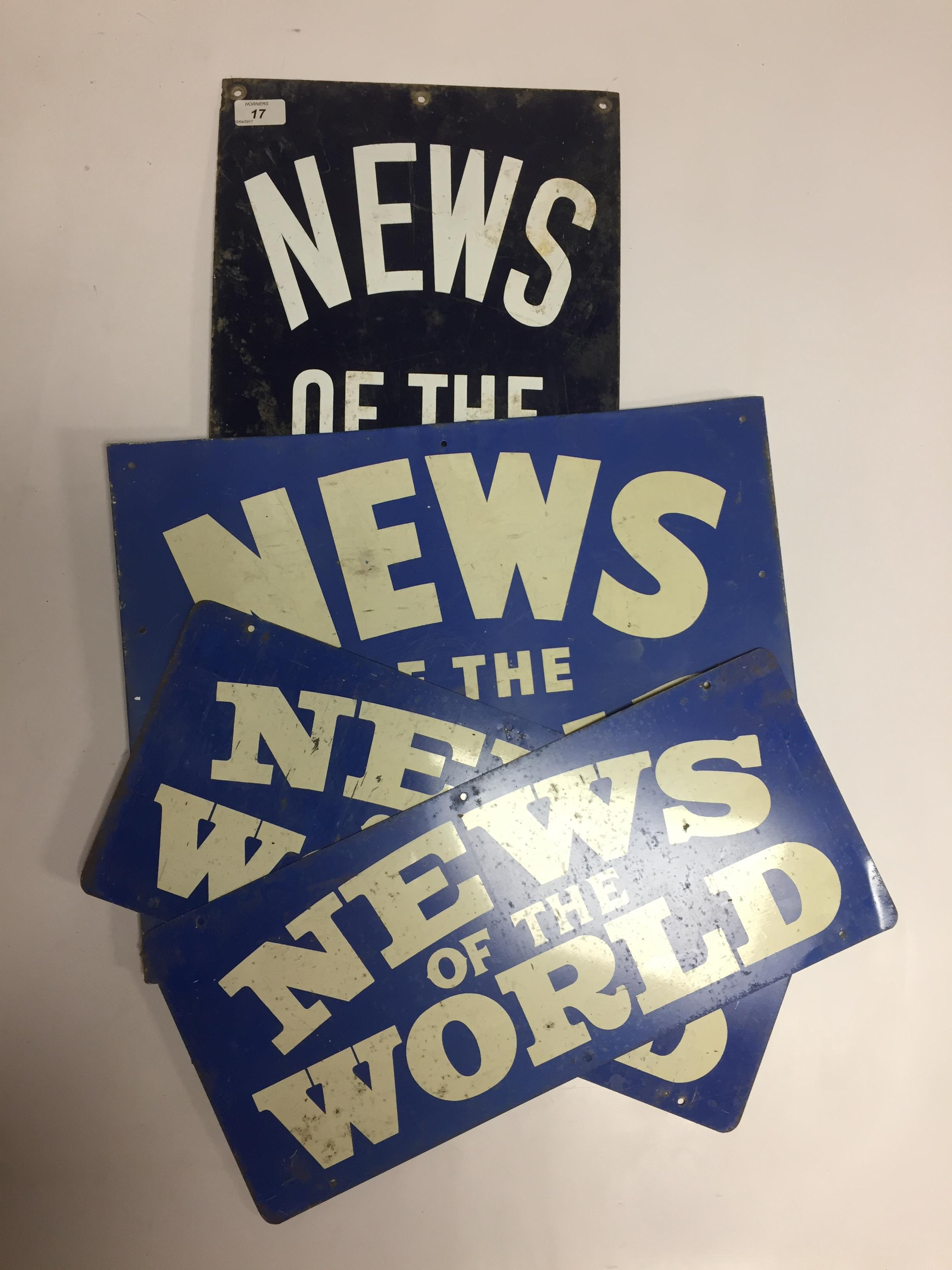ENAMEL ADVERTISING SIGN ' NEWS OF THE WORLD' 31 X 76CM AND 3 SMALLER TIN 'NEWS OF THE WORLD'