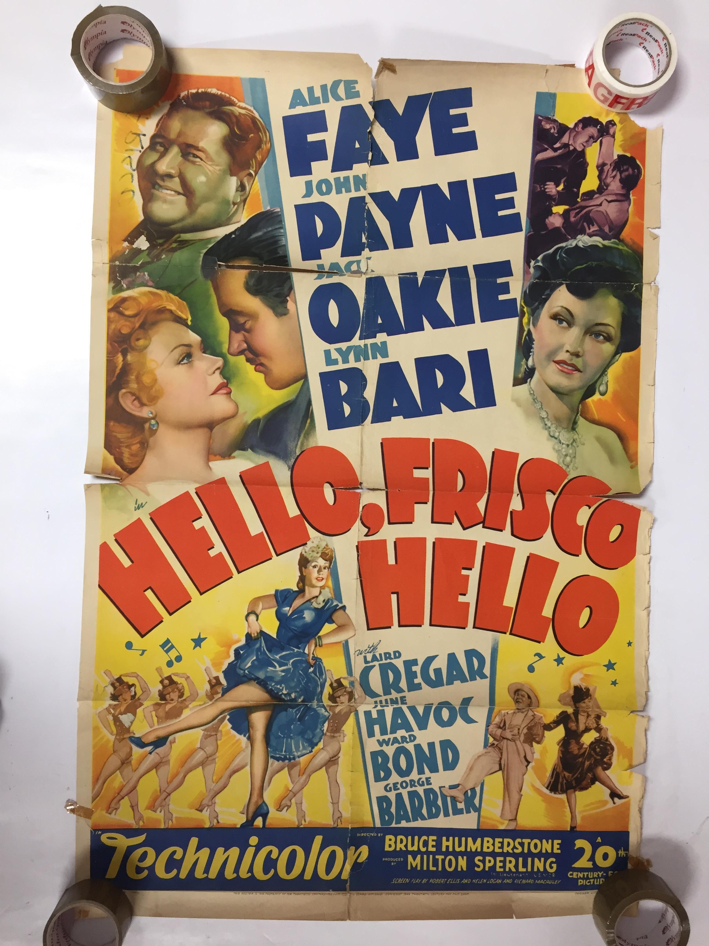 Lot 30 - 1940S COLOUR FILM POSTER 'HELLO,