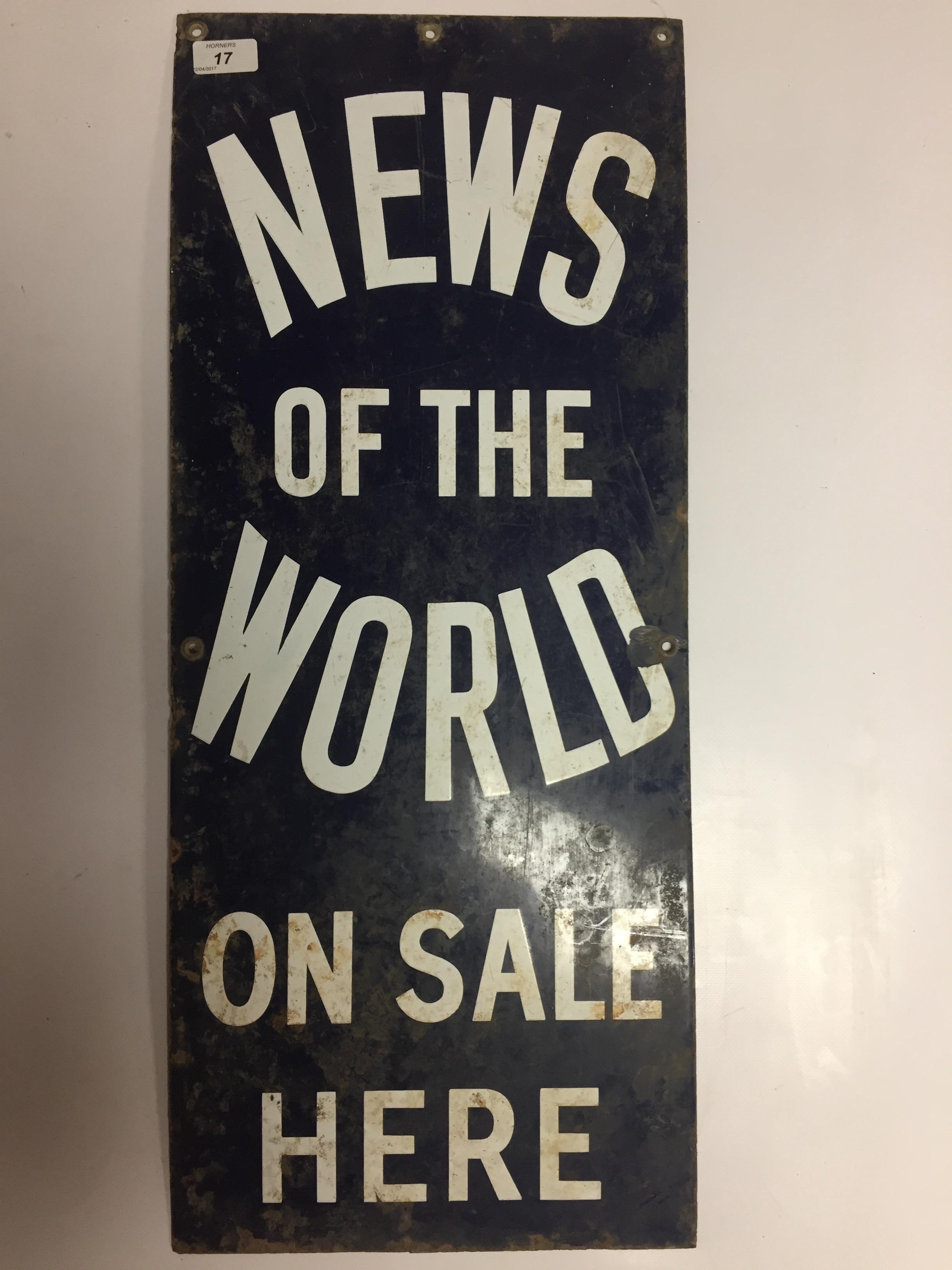 ENAMEL ADVERTISING SIGN ' NEWS OF THE WORLD' 31 X 76CM AND 3 SMALLER TIN 'NEWS OF THE WORLD' - Image 2 of 2