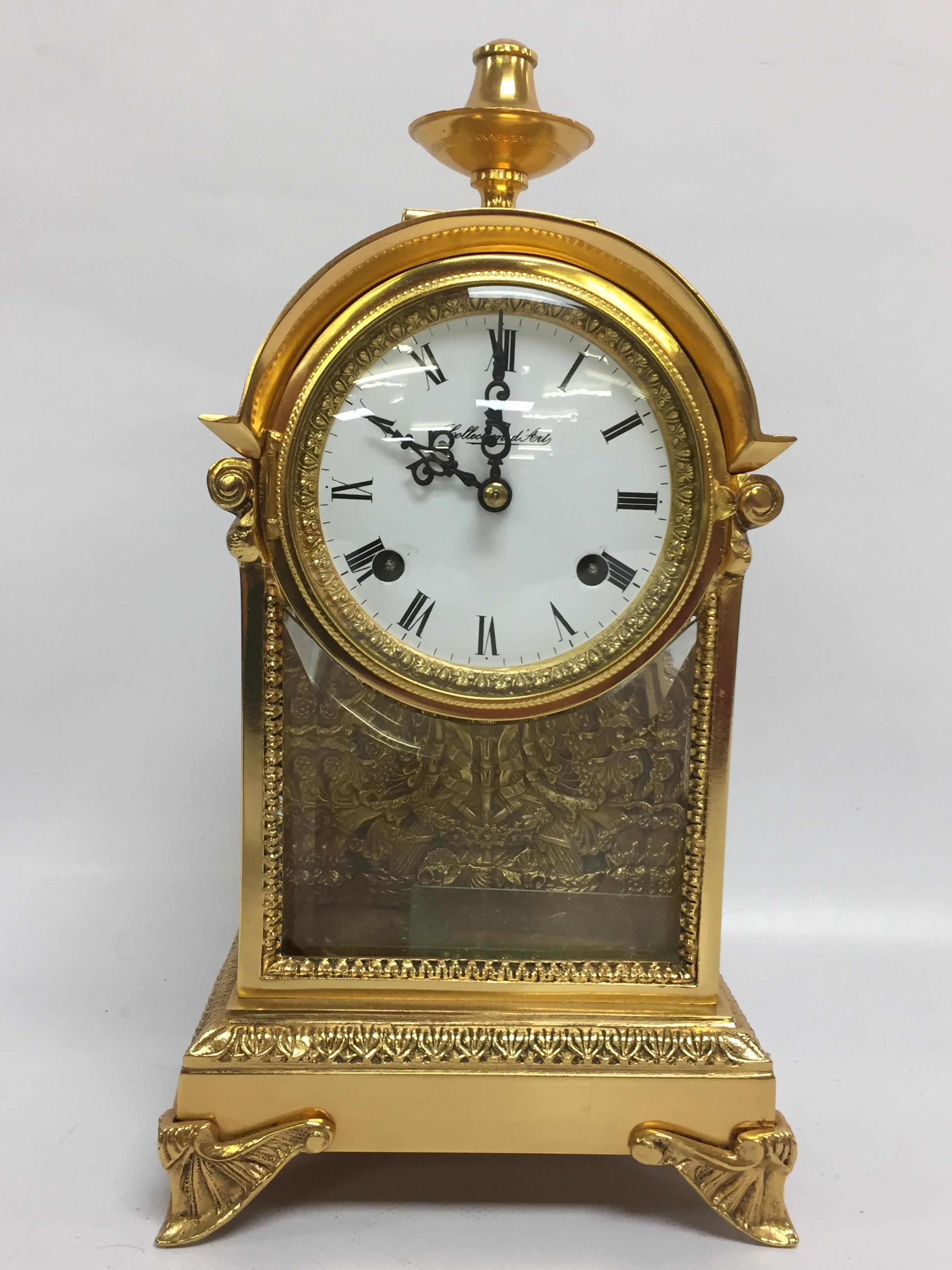 Lot 42 - BRASS MANTLE CLOCK WITH GLASS FRONT AND SIDE PANELS,