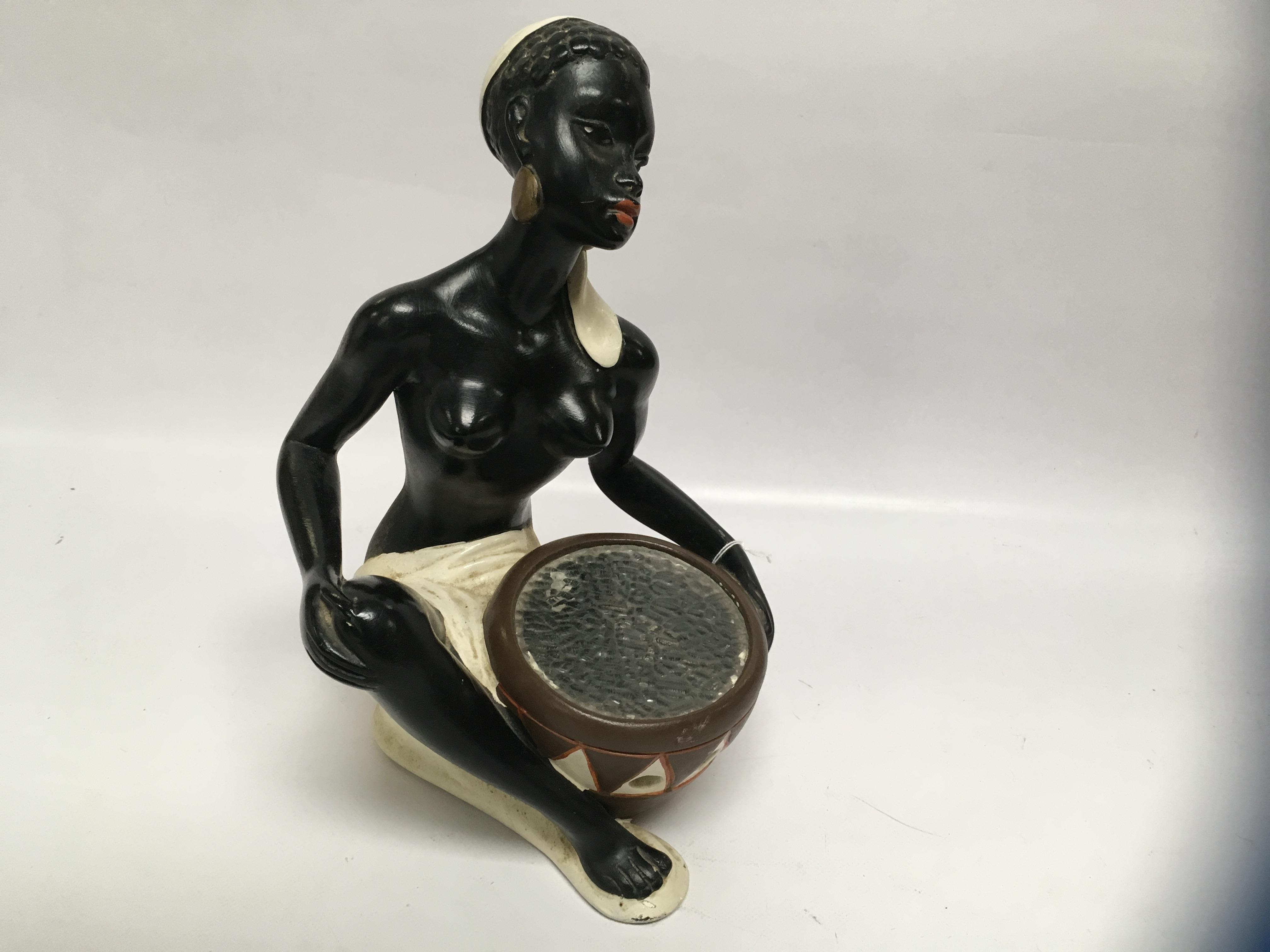 Lot 59 - VINTAGE 1950'S SEMI-NUDE CHALK AFRICAN LADY INSCRIBED INDISTINCT, ROD DENO 898698,
