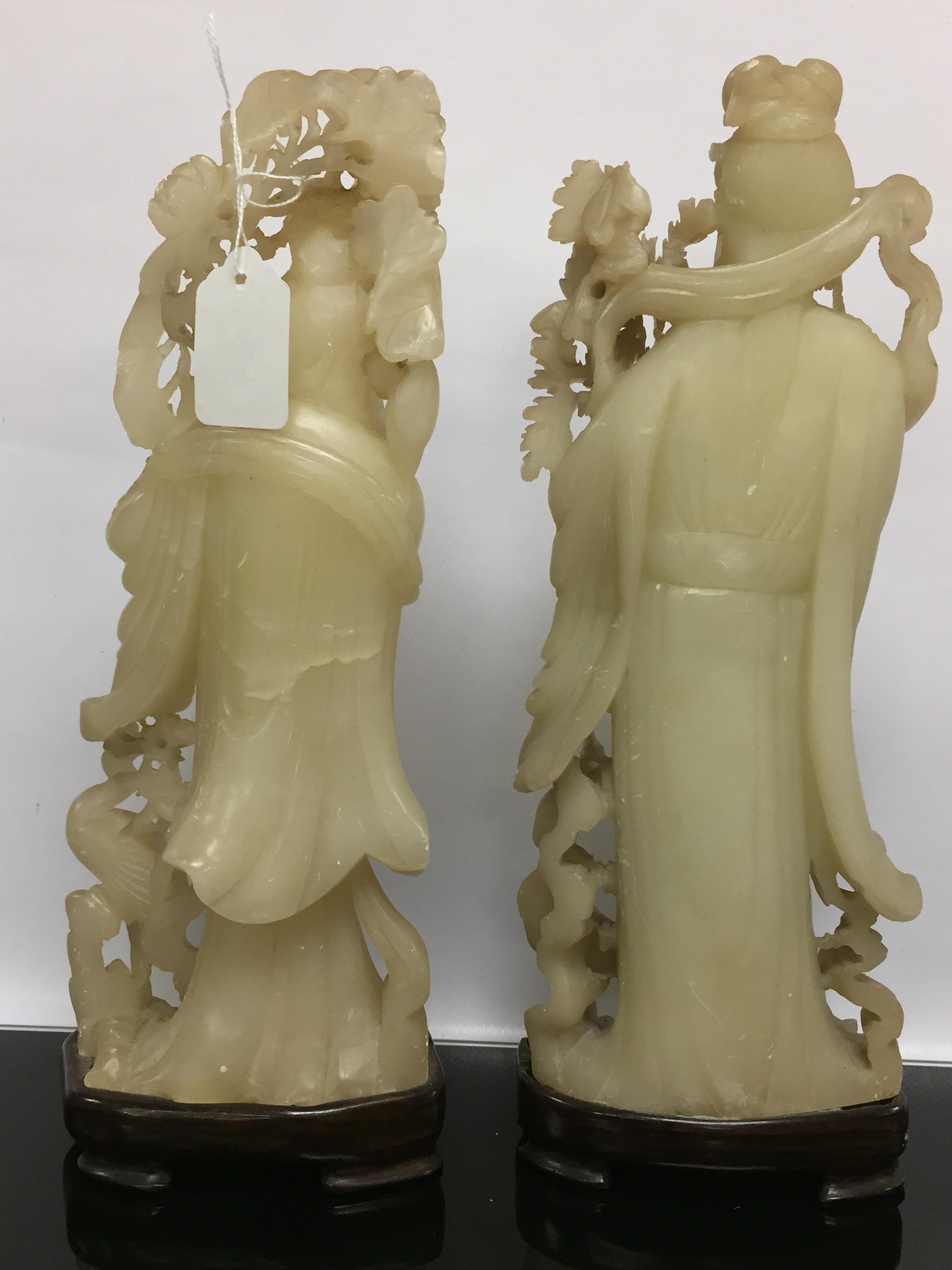 Lot 106 - A PAIR OF C19TH CHINESE SOAPSTONE FIGURES.