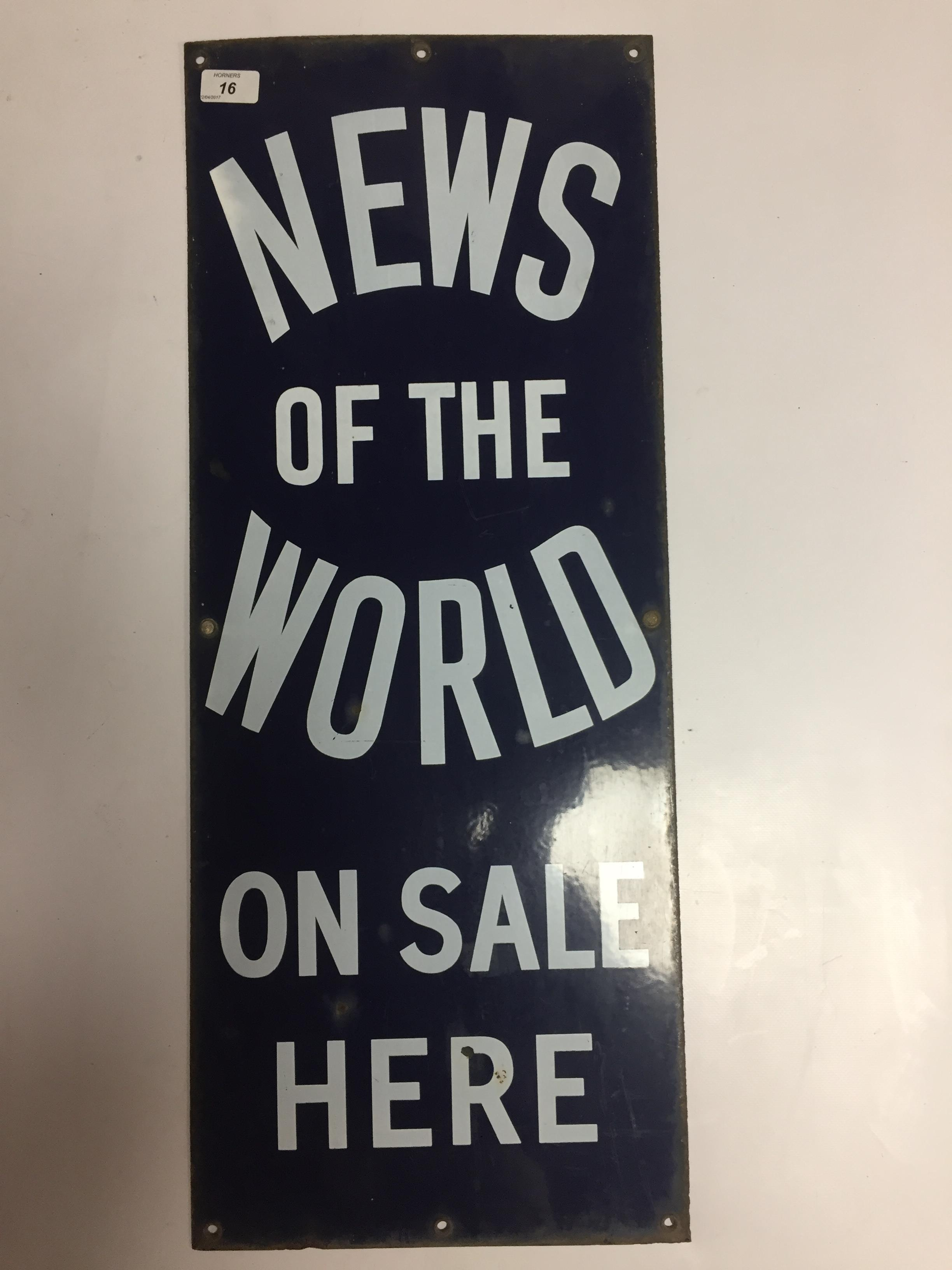 Lot 16 - ENAMEL ADVERTISING SIGN ' NEWS OF THE WORLD' 31 X 76CM