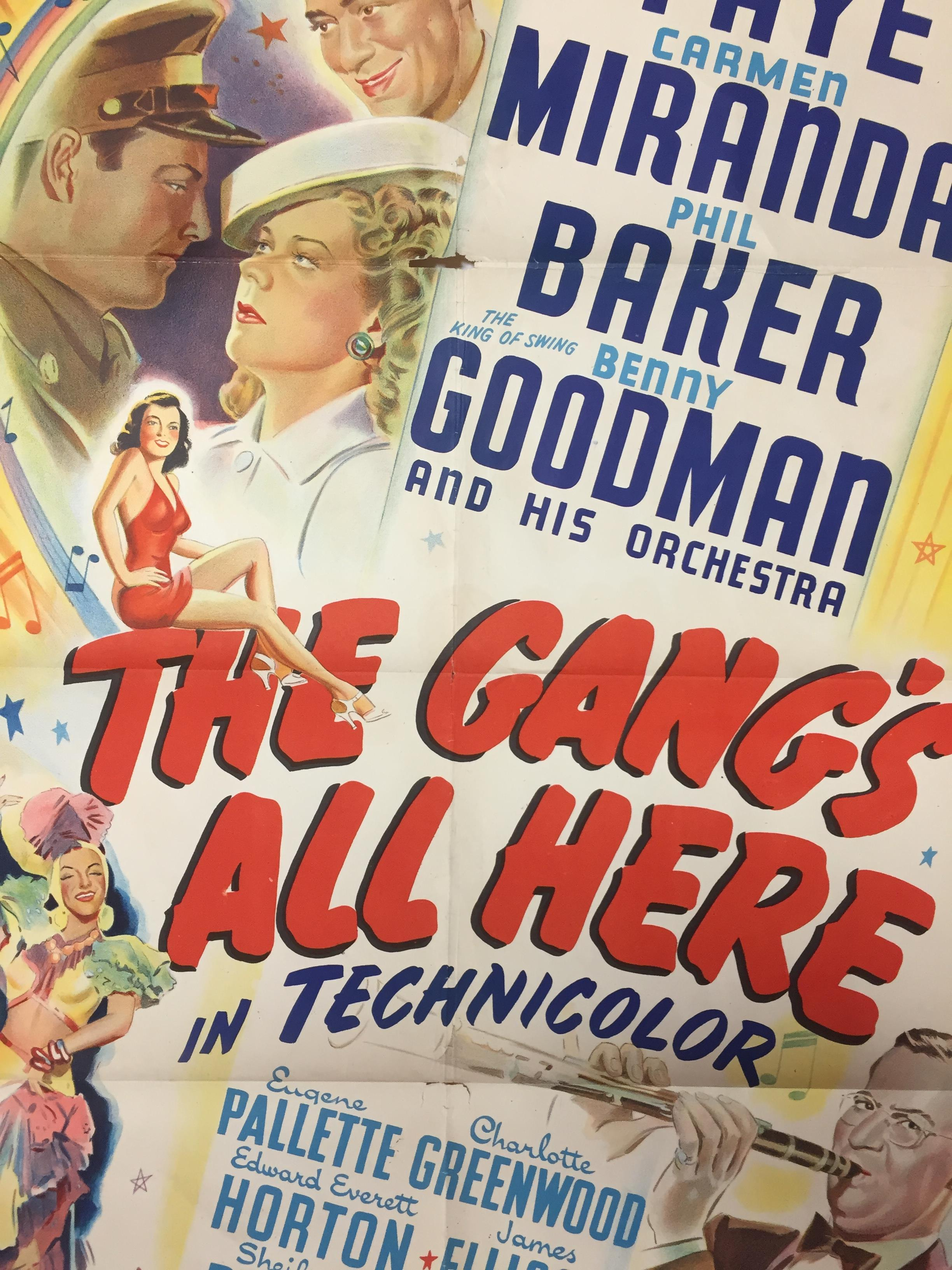 Lot 24 - 1940S COLOUR FILM POSTER 'THE GANGS ALL HERE' 68 X 102CM (POOR CONDITION)