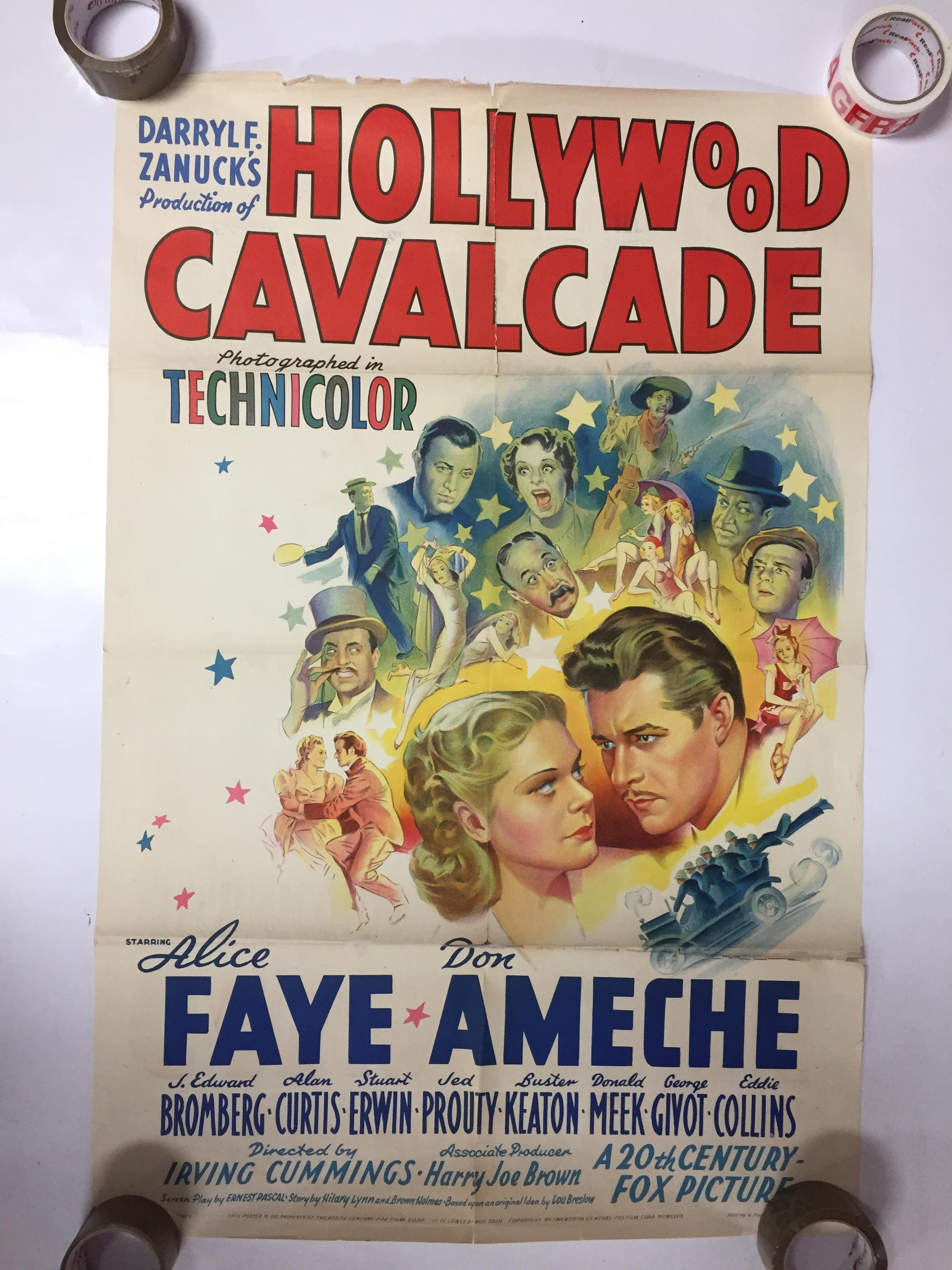 Lot 29 - 1940S COLOUR FILM POSTER 'HOLLYWOOD CAVALCADE' 68 X 102CM (POOR CONDITION)