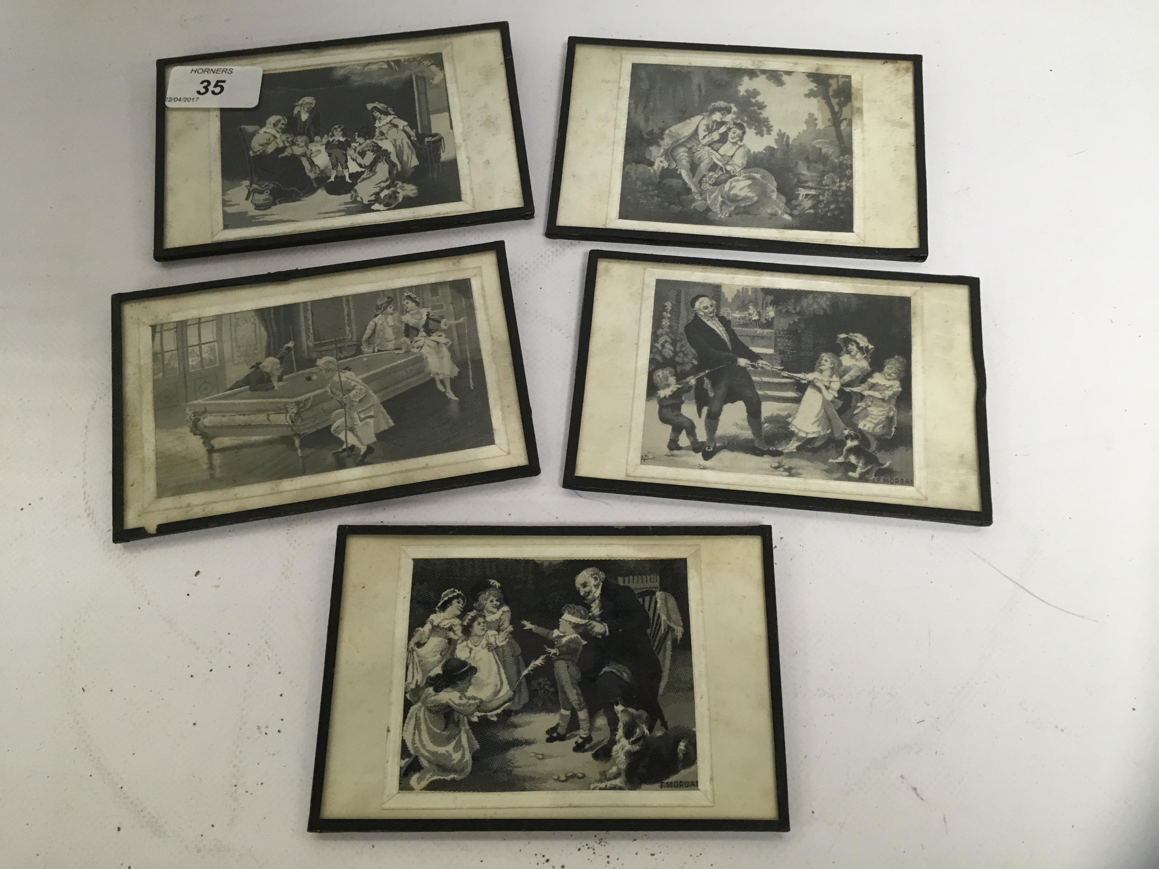 Lot 35 - FIVE STEVEN-GRAPH TYPE MINIATURE SILK PICTURES
